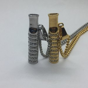 Gold Silver Steel Luxury Diamond Decoration Preroll Roller Cigarette Smoking Holder Mouthpiece Holder Tips Pipes Mouth With Necklace DHL
