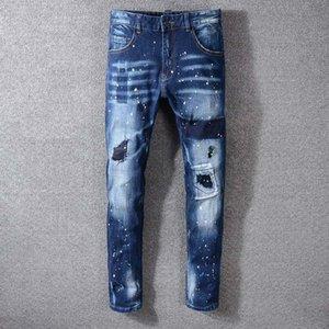 Herren-Stylist Jeans Herren Ripped Biker Jeans Slim Fit Motorrad-Radfahrer-Denim-Jeans-Qualitäts-Hip Hop Stylist Pants