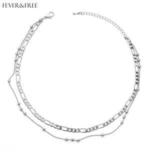 Fever&Free Dainty Jewelry Silver Round Alloy Collar Necklace Sexy Female Beach Choker Necklace Pendants Colar Feminino Wholesale