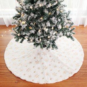 90cm 크리스마스 트리 스커트 흰색 플란넬 자수 눈송이 패턴 앞치마 크리스마스 홈 장식 신년 소모품