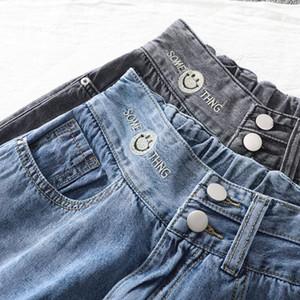 169 Chen verano pantalones de papá cintura elástica Capris de las mujeres delgadas pantalones vaqueros Harun bordado patrón cara sonriente al por mayor