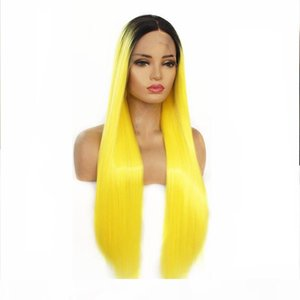 L Ombre Lace Front Wig For Cosplay Make Up Long Silky Straight Heat Resistant Fiber Hair Sexy Bright Yellow Synthetic Wigs For Women