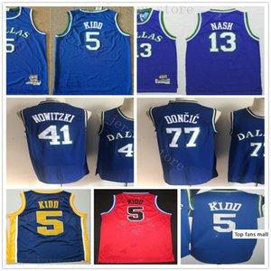 Retro Basketball Luka Dirk 77 Doncic 41 Nowitzki Jerseys Best Quality Stitched Jason Steve 5 Kidd 13 Nash Jerseys College Blue Red for Man
