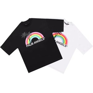 Summer new angel spring and summer PA rainbow coconut tree printed short-sleeved couple men and women casual wild the same T-shirt