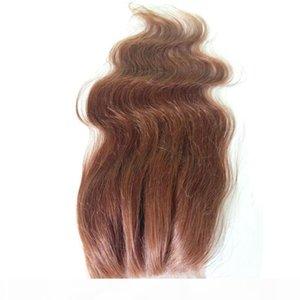 Malese Body Wave seta pizzo base di chiusura # 4 Brown Virgin capelli umani di Remy seta Chiusura gratuita di Middle 3 parzialmente nodi nascosti