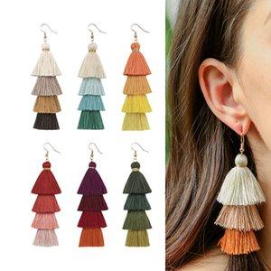 Boemia orecchini di colore di contrasto della nappa a più livelli si allineano donne orecchini nappa penzolare monili lampadario volontà e sabbia jewerly