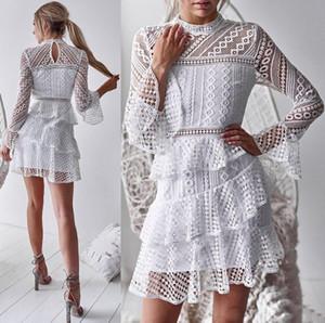 여성의 불규칙한 주름 드레스 트럼펫 슬리브 레이스 관점 섹시한 케이크 드레스 반장 흑백 S-XL