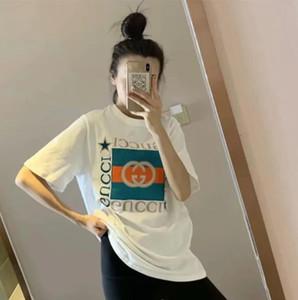 2020 camiseta de algodón celebridad web para la primavera / verano 2020 de manga corta mismas como medio de impresión GGG y largo sueltos de los hombres