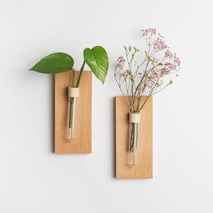 Terrarium Plant Vase Creative Wooden Wall-mount Flower Vase Home Decoration Accessories Wall