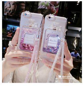 caixa do telefone da moda para iphone 11 pro xr xs Frasco de perfume máximo areia movediça caso de telefone para xr 7 8 6 mais com corrente