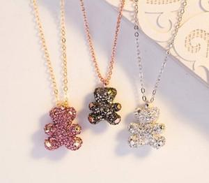 Модный медведь Кулон Ожерелье Женщины Розовое Золото Посеребренные Алмазные Клавидарки Пчелы Высокое Качество Ювелирные Изделия SW1102 С коробкой