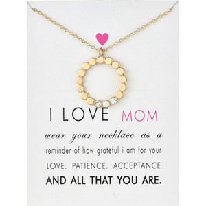 I love mom Circle Pendant Choker Necklaces With Card Gold Silver CZ Chain Necklaces for Women Fashion Jewelry for Mother's Day Gift
