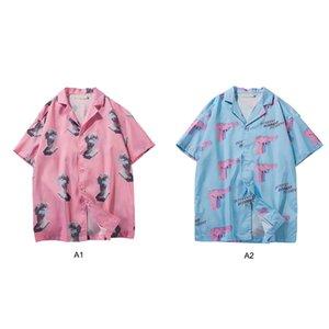 Verano de los hombres Impreso da vuelta-abajo de la blusa de manga corta floja Tees Hawaiian Beach camisas camisa transpirable elástico superior del tamaño extra grande