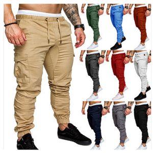 Marque Automne Pantalons Vêtements pour hommes Pantalons Hip Hop Harem Joggers New Male Pantalons Hommes multi-poches solide Pantalon cargo Skinny Fit Sweatpants