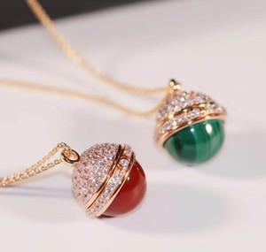 Luxuriöse Qualität Anhänger Pullover Kette mit der Natur sotne Malachit Achat und Halbkugel Diamanten für Frauen Armband Schmuck Geschenk PS80