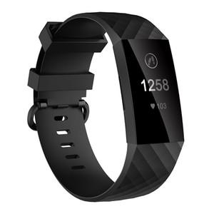 팔찌 Fitbit 충전 용 3 밴드 교체 블랙 TPU 손목 스트랩 팔찌 맞는 비트 충전 용 3 스마트 시계 액세서리 (CH3P)