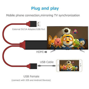 Universal HDMI Cable Plug and Play HDMI HDTV TV Adaptador Digital AV Cabo 1080p Telefone para TV USB 2.0 para Tipo C Micro 5Pin Iluminação 1m