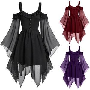 Tshirt Women Halloween Gothic Criss Cross Lace Insert Butterfly Sleeve T-shirt Tops Poleras Camiseta Top Women Harajuku T Shirt