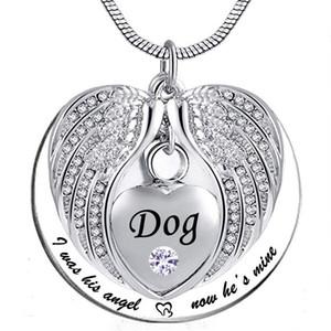 Melek kanadı Anıtı Keepsake külleri Urn kolye Birthstone kristal kolye, ben onun açısı olan, şimdi o benim için-köpek için