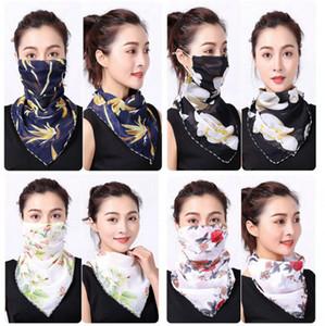 Mulheres Scarf Máscara Facial 38 Styles chiffon de seda lenço ao ar livre à prova de vento Meia Face à prova de poeira máscaras pára-sol Scarf LJJO7663