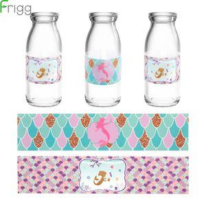 Frigg Mermaid Water Bottle Label Adesivi Bambino festa di compleanno della decorazione di DIY festa di nozze accessori per favore sirena bambini