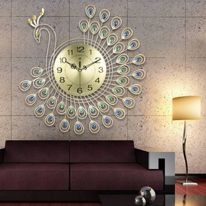 Large 3D Gold Diamond Peacock Wall Clock Metal Watch for Home Living Room Decoration DIY Clocks Ornaments 53x53cm 201202