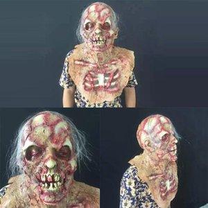 couverture de crâne Horreur Rotten zombie diable sanglant Zombie Masque Visage de fusion adulte latex Costume Scary Halloween Prop