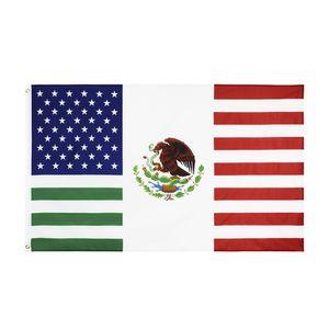 Combinação frete grátis Em armazém 3x5ft EUA México Amizade tradicional bandeira americana mexicana Bandeira Bandeira para a decoração ao ar livre Indoor