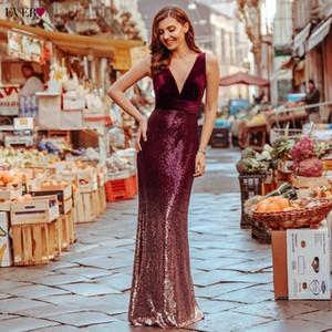 Robe De Soiree Haupt recht neue sexy V-Ausschnitt Sleeveless Nixe Burgundy Lange Abendkleider Elegante Abendkleider
