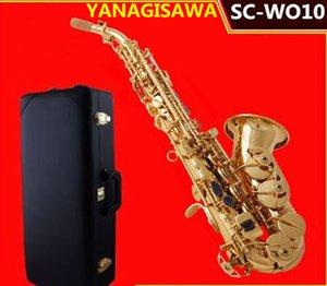 Высокое качество Yanagisawa SC-W010 Небольшое изогнутое сопрано Саксофон Электрофорез Золотой SAX B Плоские приборы с аксессуарами Свободный корабль