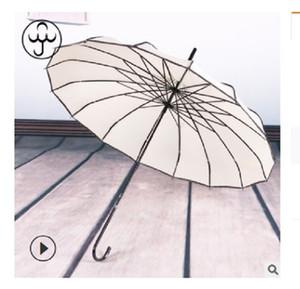 2020 venda quente 16K longa alça pólo reta nupcial guarda-chuva ao ar livre guarda-sol longa-handle guarda-chuva à prova de vento guarda-chuva Baobian pagode Bege