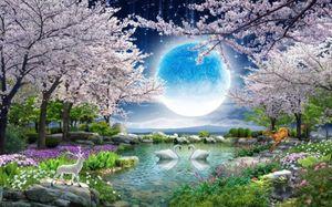 beaux paysages fonds d'écran clair de lune beauté lune fleur bonne lune rond cerisier paysage peinture TV fond mur