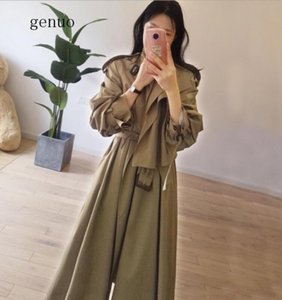 Женские траншеи 3021 осень повседневное пальто негабаритные винтажные тонкие длинные ветровка женская одежда для одежды