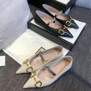 2020 summer new designer woman dress shoes 100% leather fashion brand Pointed shoes Metal letter luxury lady Flat Casual shoes size 35-41