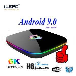 Q-PLUS Android 9.0 TV Box 2GB 16 GB Smart TV Smart Television Box 4K Media Player Allwinner H6 Android Box con telecomando