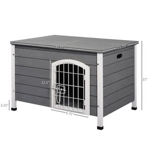 Wooden Dog Cage Kennel Lockable Door Small Animal House w  Openable Top Gray