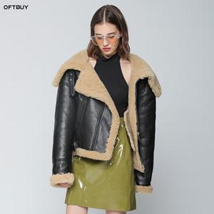 OFTBUY 2019 kış ceket kadınlar gerçek kürk yün Merinos Koyun Kürk shearling ceket çift seksi gevşek bombardıman ceket karşı karşıya
