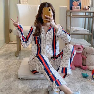 Summer Star Style Ice Silk Pajamas Pyjamas G Letter Print Sleepwear Can Outside Wear Shirt Women Leisure Long Sleeves Home Clothes Suit