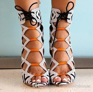Charm2019 Decent Printed Leather Cutout Women High Heel Sandals Sexy Open Toe Gladiator Zip Back Lace Up Women Summer Ankle Sandal Boots