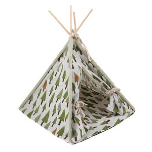 Cute Pattern Dog Teepee Removable Pet Kennel Play House Tent Cat Dog Bed - Indoor Outdoor Tent Bed for Small Animals