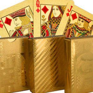 Dollar Poker-Karte Gold Foil Euro Pokers Wasserdicht Gold überzogene Spielkarten Tabelle Spiele Kunsthandwerk Geschenk-Ansammlung Freies Verschiffen