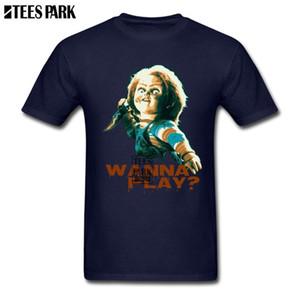Korku Filmi Çocuk Oyun Chucky Retro T Gömlek Erkek Mürettebat Yaka Kısa Kollu Tişört Popüler Ergenlik Normal Erkekler Biçimsel Gömlek
