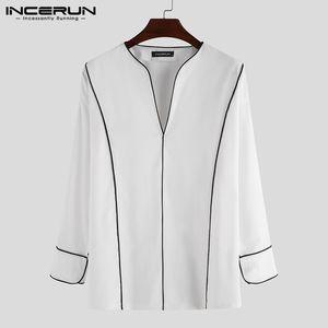 INCERUN Men Shirt High Street V Neck Long Sleeve Brand Casual Blouse Color-block Loose Chic Fashion Korean Camisa Masculina 2020