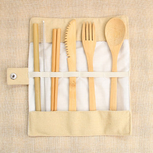 7pcs set Bamboo Portable Cutlery Set Outdoor Travel Flatware Set Knife Chopsticks Fork Spoon Dinnerware with Canvas Bag HHAA615