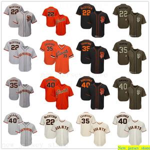 2019 des femmes des hommes jeunes Baseball Maillots Cousu 22 McCutchen 35 Crawford 40 Bumgarner Jersey Crème Noir Gris Orange Salut au service