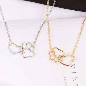 Полые Pet Paw Footprint Ожерелья Милые Животные Собака Кошка Любовь Сердце Ожерелье Для Женщин Девушки Ювелирные Изделия Ожерелье Подарок