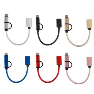 Type-c 2-en-1 OTG Micro USB de type C 2 Tresse-en-1 adaptateur OTG câble de transfert rapide Date de câble pour adaptateur Android