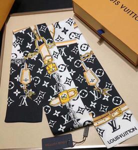 lenços de seda atacado de seda moda masculina e faixa de cabelo multi-purpose bolsa de seda da marca decorativo lenço lenço impresso 120 * 8 centímetros das mulheres