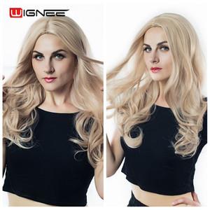 Wignee largo de 2 tonos Ombre Brown Ash Blonde Temperatura pelucas sintéticas Para Negro / blanco Mujeres sin cola ondulada Diario / peluca de pelo