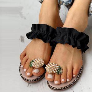 Femmes Filles perle plat style bohème de Sandales Chaussons Chaussures de plage Casual Flip Flops Summer Beach chaussures à bout plat